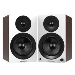 "Ai60 Powered 6.5"" High Performance Bookshelf Speakers - White & Walnut"