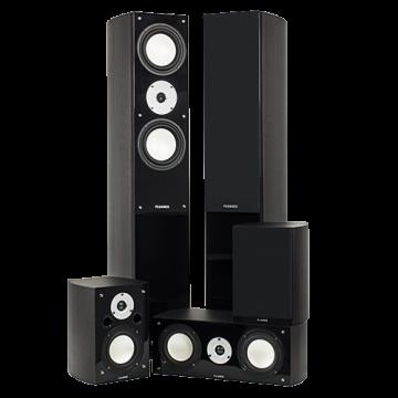 High Performance 5 Speaker Surround Sound Home Theater System - Dark Walnut