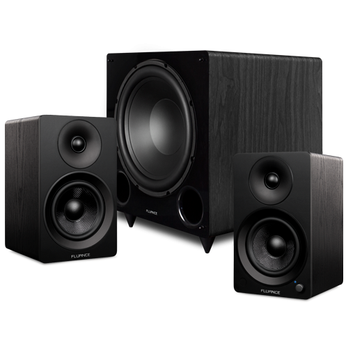 "Ai41 Powered 5"" Stereo Bookshelf Speakers and DB12 12-inch Low Frequency Ported Front Firing Powered Subwoofer - Thumbnail"