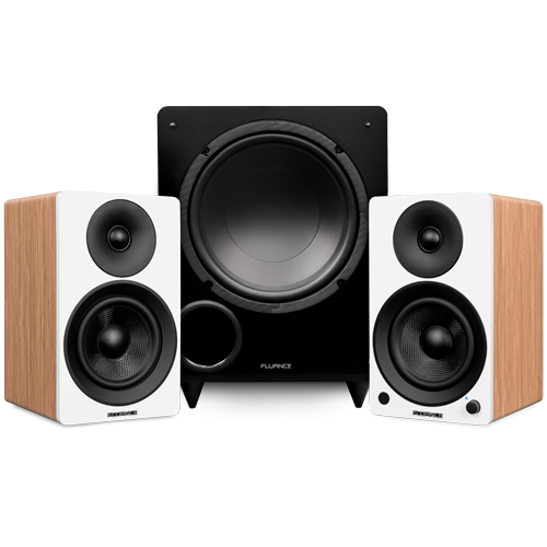 "Ai41 Powered 5"" Stereo Bookshelf Speakers and DB10 10-Inch Low Frequency Ported Front Firing Powered Subwoofer - Thumbnail"