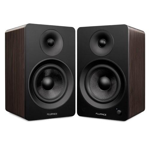 "Ai60 Powered 6.5"" High Performance Bookshelf Speakers - Black & Walnut"