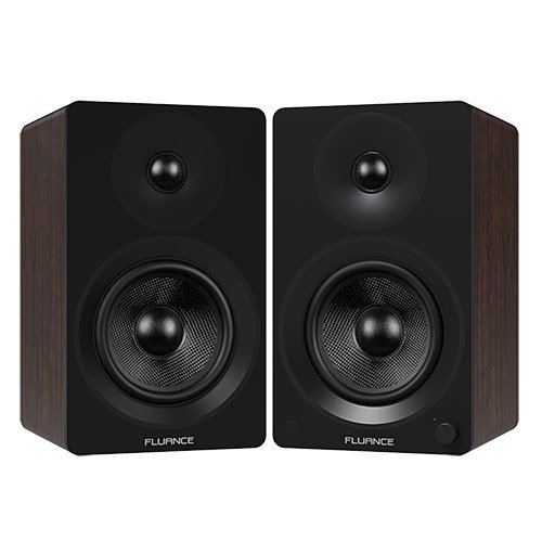 "Ai60 Powered 6.5"" High Performance Bookshelf Speakers - Black & Walnut"
