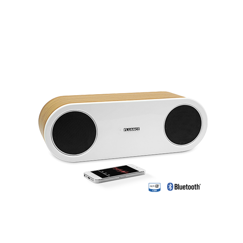 FI30-BW Main Bamboo and White Bluetoother Speaker