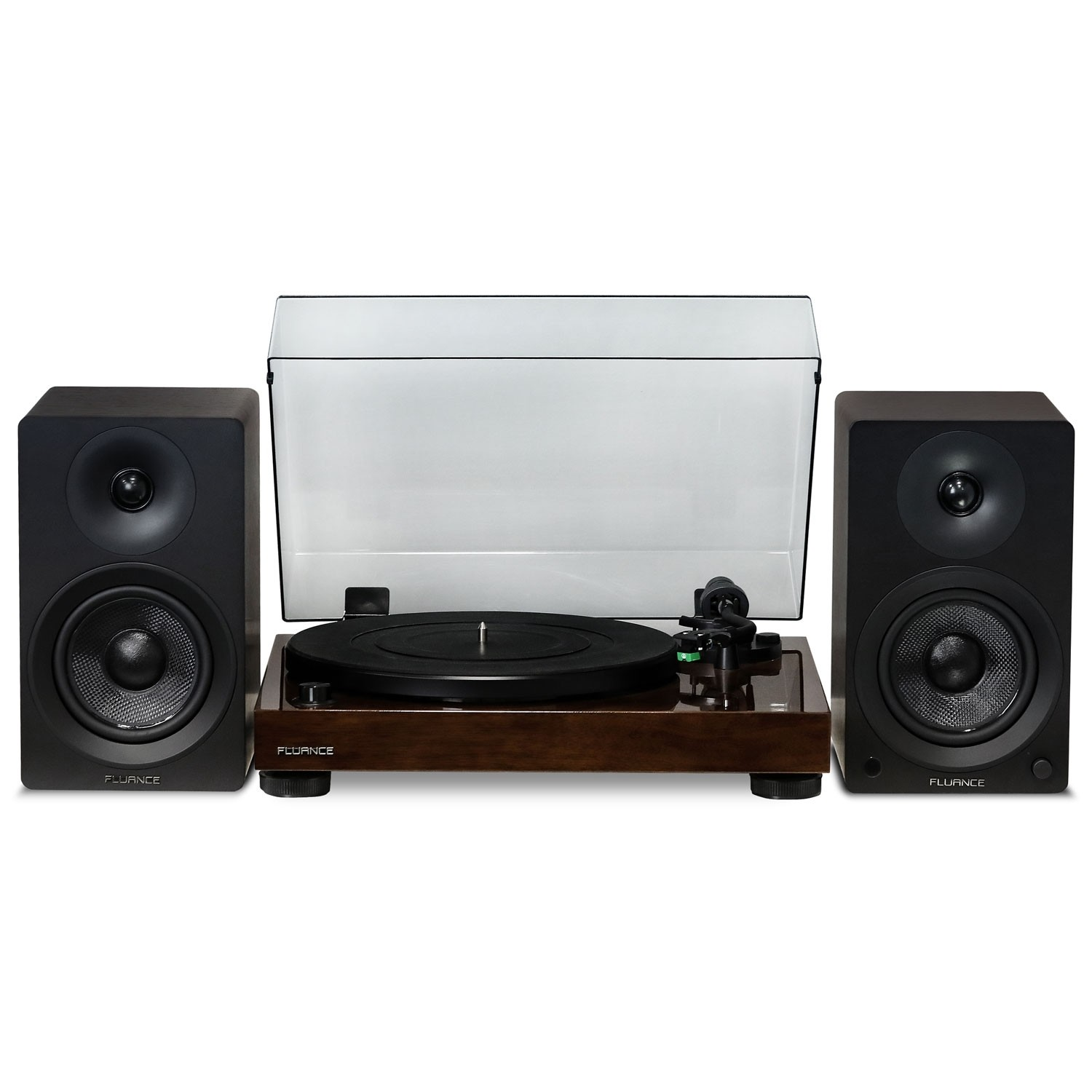 "Elite High Fidelity Vinyl Turntable with Ai40 5"" Powered Bookshelf Speakers"
